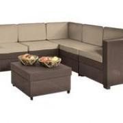 угловой диван PROVENCE SET (выс.80,196*196) ,стол в комплекте (выс.33,59*59) коричневый