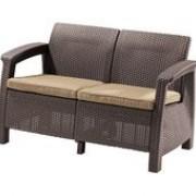 диван  двойной CORFU- 2 с подушкой (128*70*79) коричневый